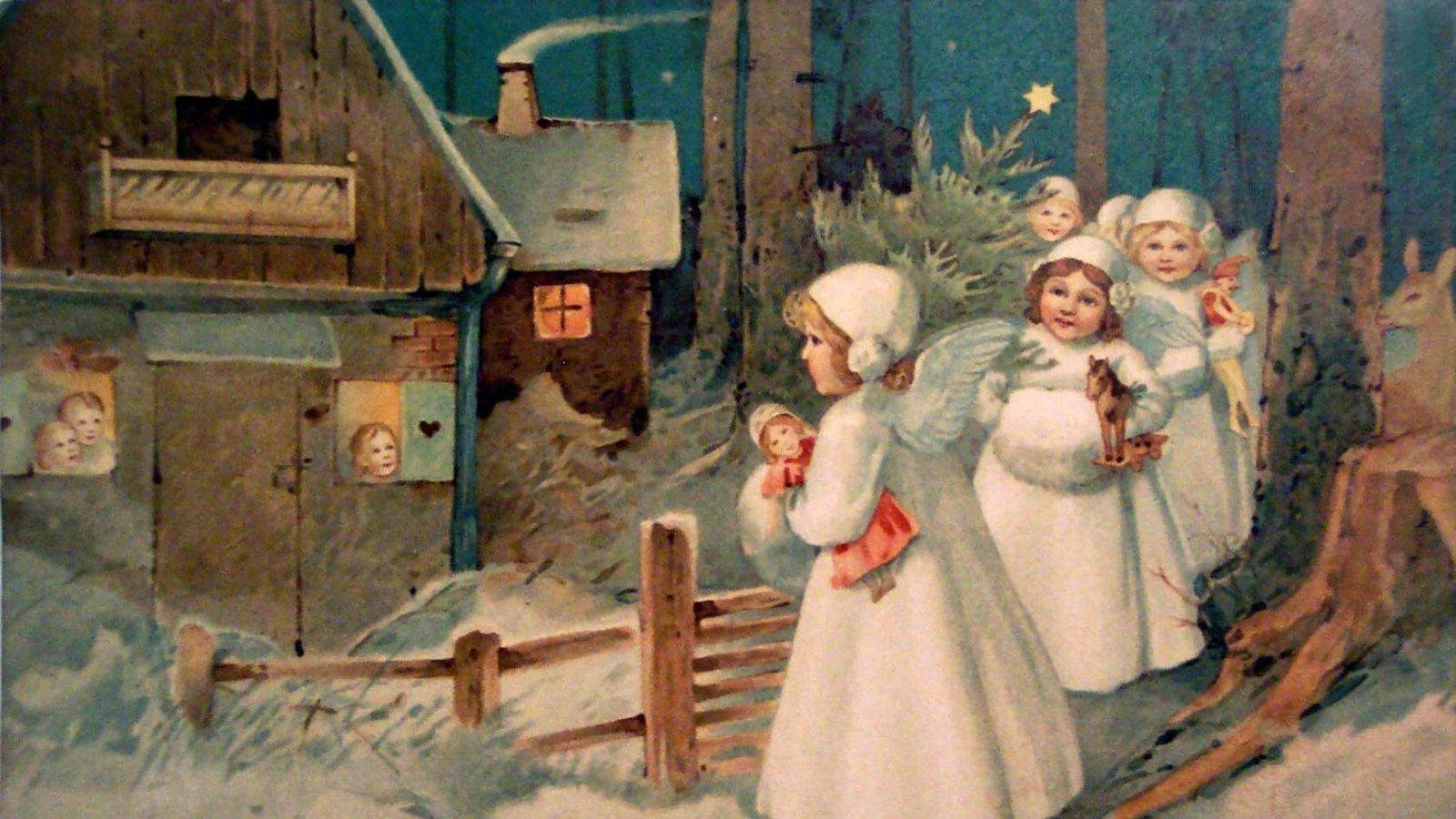 Открытки с рождеством ретро русские, день рождение распечатать