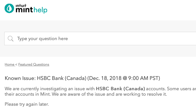 Petition · HSBC Canada to re-allow mint com access · Change org