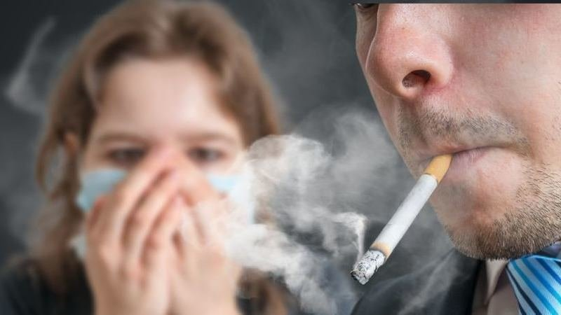 """secondhand smoking """"secondhand smoke"""" is the combination of gases and small particles from lighting cigarettes, pipes, or cigars, and the smoke that is exhaled from someone smoking."""