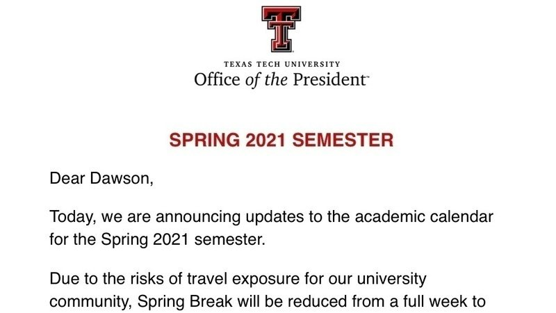 Ttu Academic Calendar 2022.Petition Change Texas Tech S Spring Break From One Day To Five Change Org