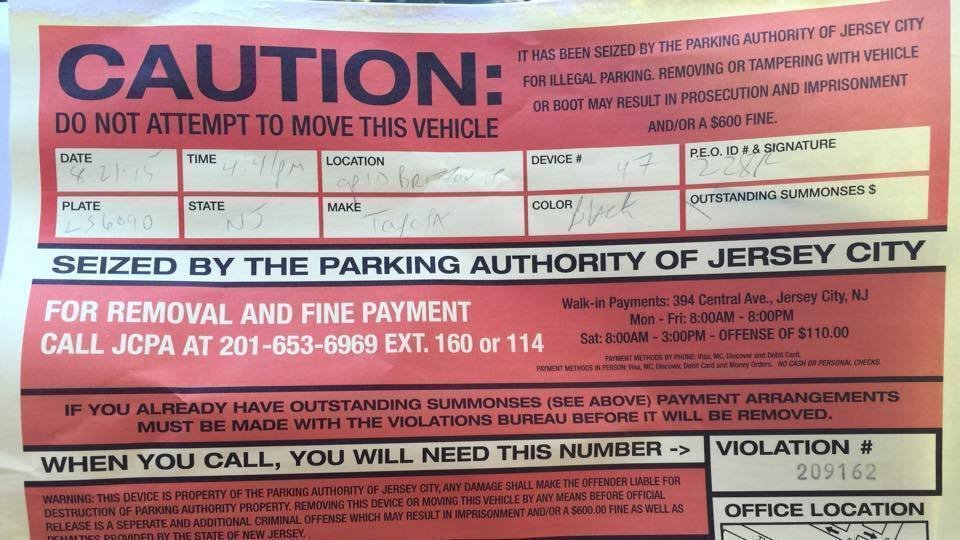 jersey city parking authority boot