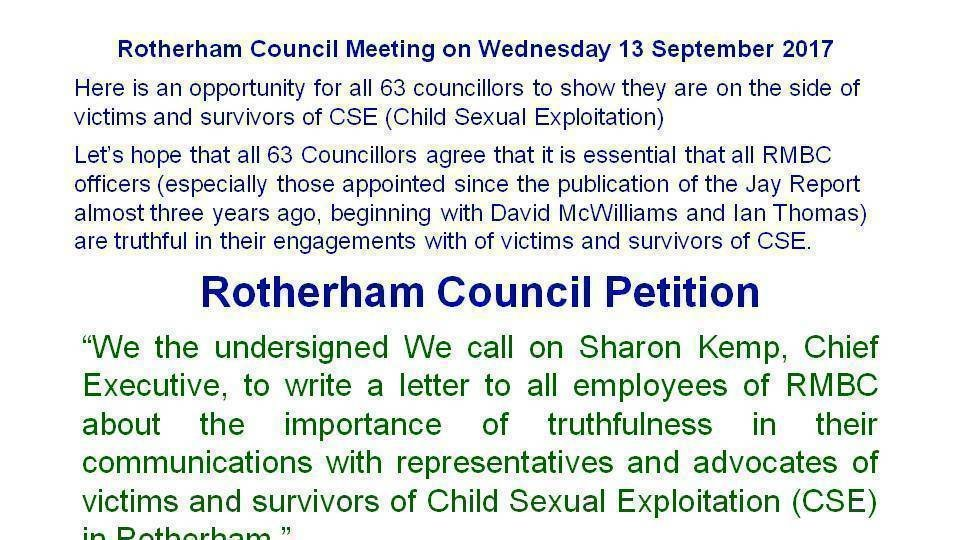 Petition Update  Media Statement  Rotherham Truth Campaign Rtc