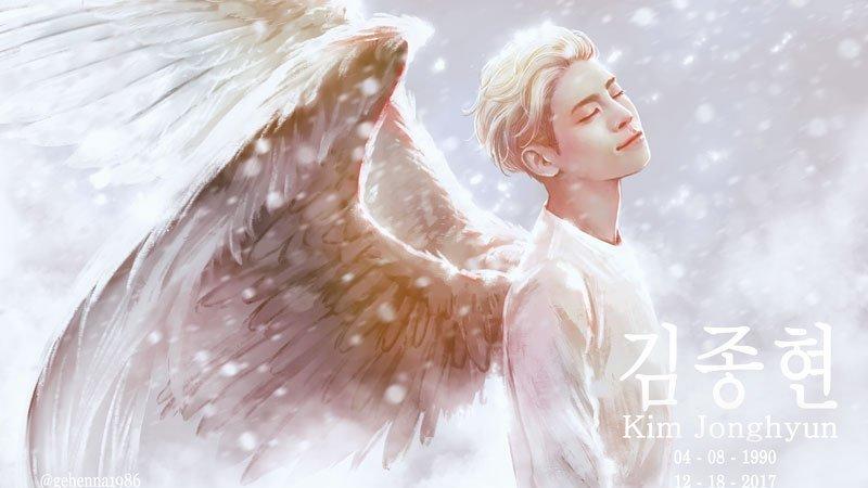 cantor Kim Jonghyun com asas após sua morte