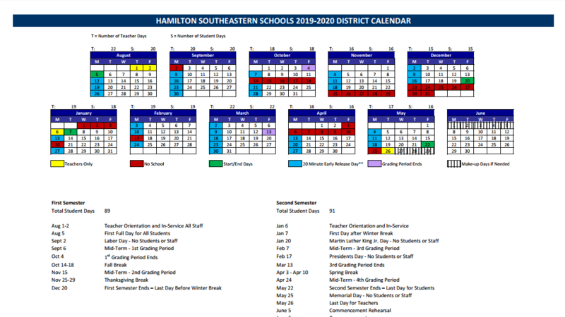 reconsideration of the hamilton southeastern school year calendar for 2018 2019 2019 2020