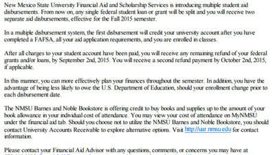 Nmsu Financial Aid >> Supporter Comments New Mexico State University Take Care