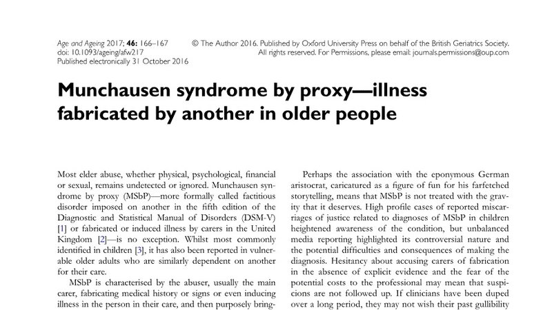 Petition Update  MunchausenS Syndrome By Proxy A Form Of Elder