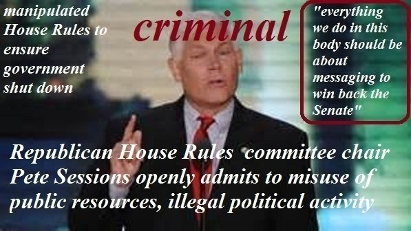 Investigate House Rules Committee Chairman Pete Sessions For Misuse Of  Public Funds And Illegal Political Activity