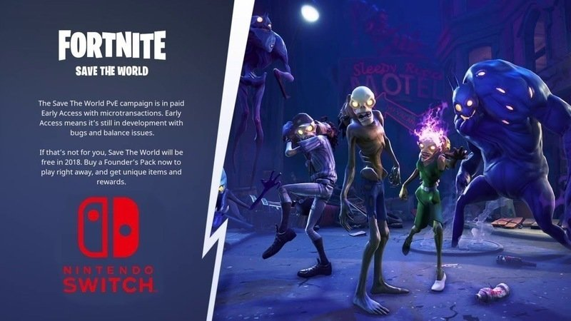 add save the world to nintendo switch version of fortnite - how many players in fortnite right now