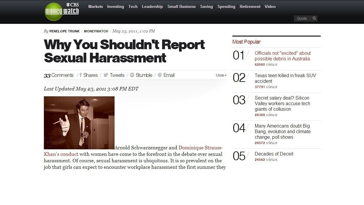 Harassment articles about sexual
