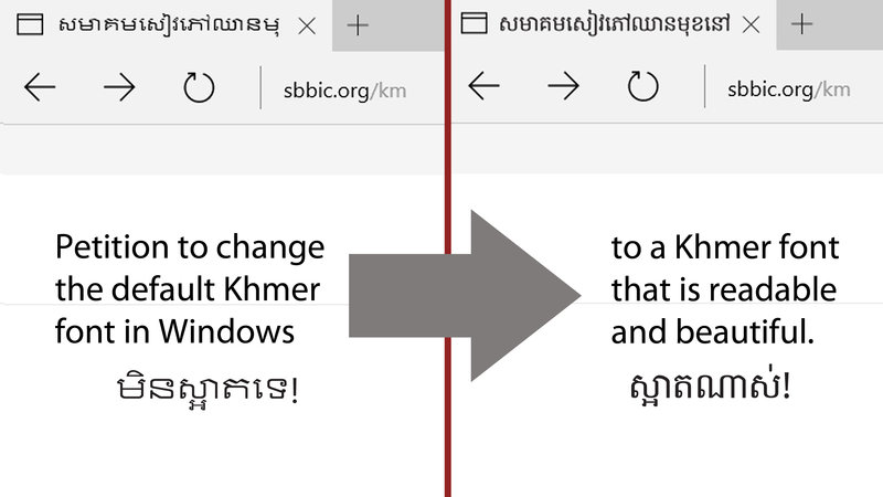please change the default khmer fonts in microsoft windows