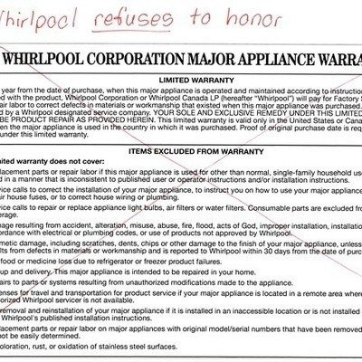 Petition · Whirlpool Corporation Honor Your Written Product Warranty ·  Change.org