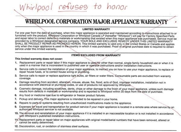 Whirlpool Corporation Honor Your Written Product Warranty
