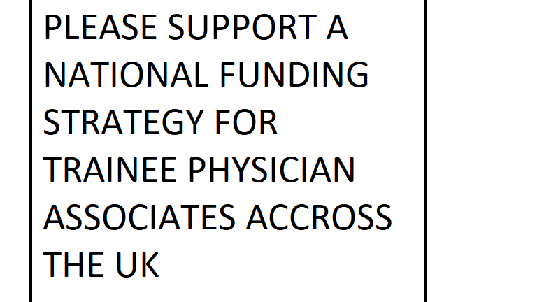 Petition · National Funding for Physician Associate Trainees