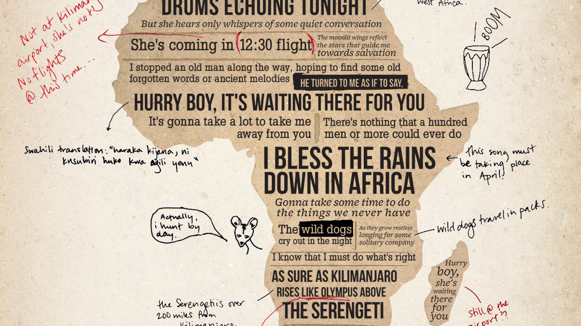 Lyric i bless the rains down in africa lyrics : Petition · Toto: Small lyrical change to the song