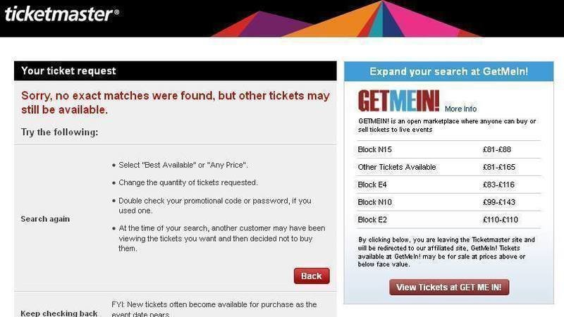 Petition · Address Ticket Availability and GetMeIn Conflicts of