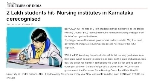Petition President Indian Nursing Council Getting Back Indian Nursing Council Recognition For Karnataka Nursing Institutes Change Org