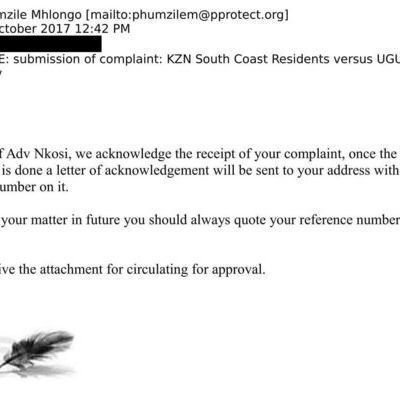 Petition update · COMPLAINT TO PUBLIC PROTECTOR RECEIPT OF