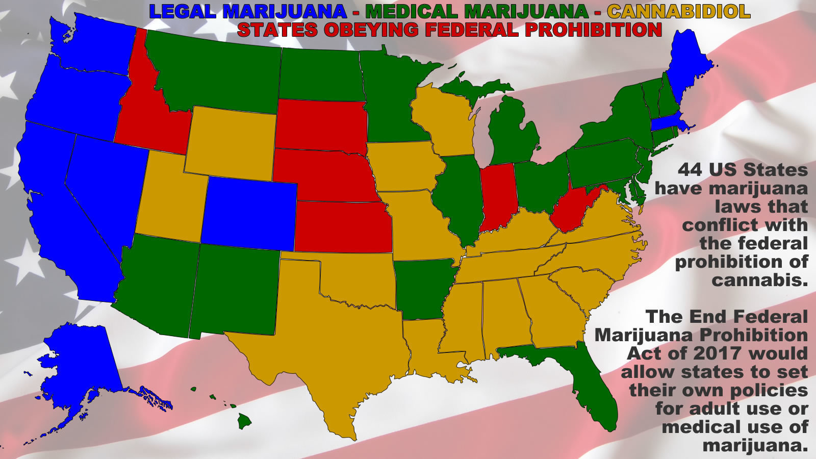 Petition Tell Congress To Let States Decide Their Own Marijuana - Us map of legal weed 2017