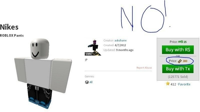 Petition · ROBLOX Clothing Prices: 300 TIX is ridiculous