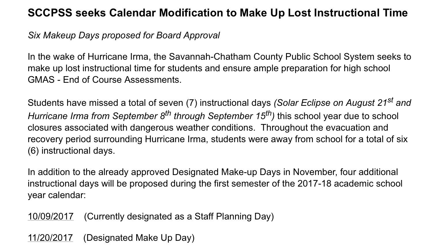 Petition Sccpss Sccpss Only Need 3 Make Up Days Change Org