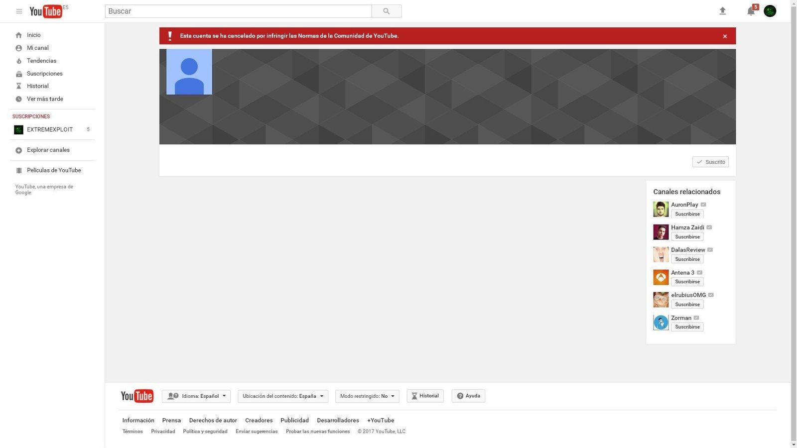 Peticion Google Restaurar El Canal De Youtube De Extremexploit Change Org