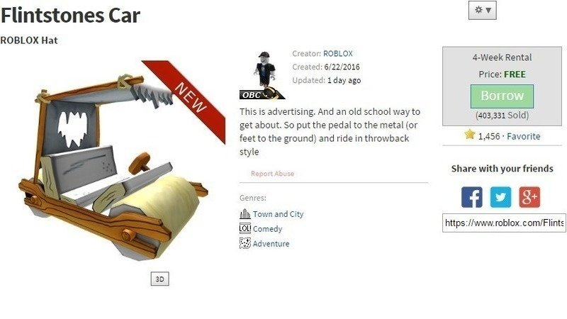 make the flintstones car on roblox a permanent purchase and not a rented item