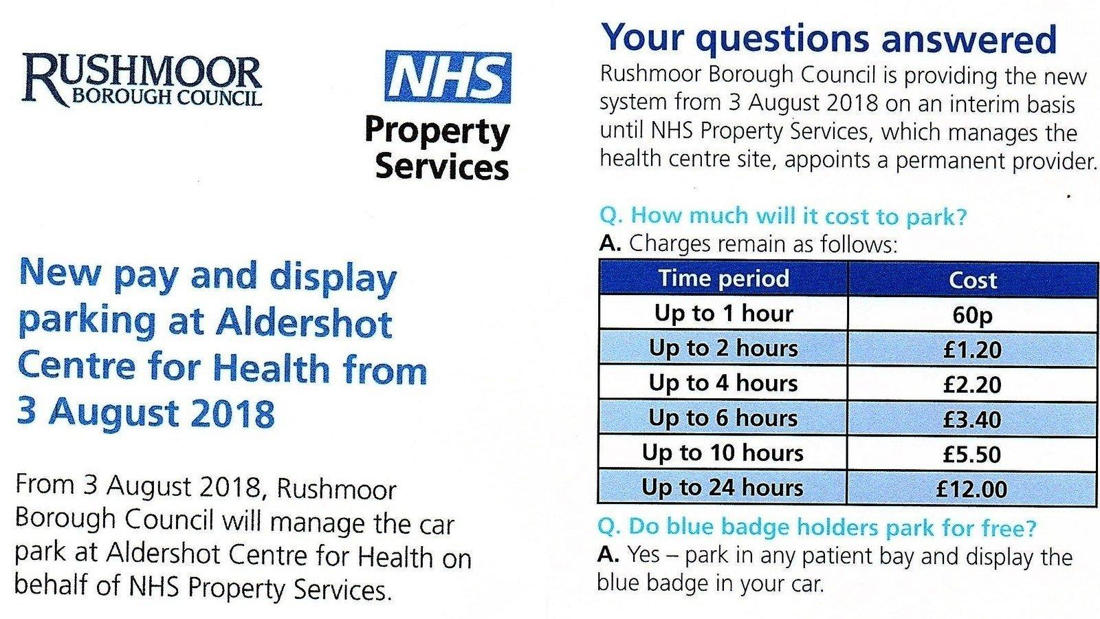 Petition update · Parking at Aldershot Centre for Health – Statement