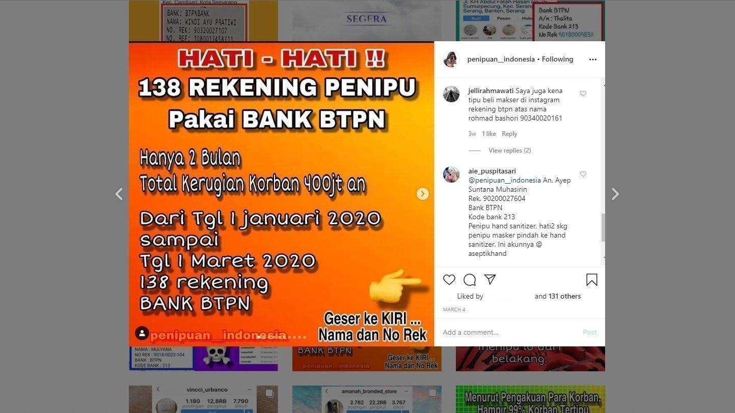 Petisi Tindak Tegas Penipu Yang Menggunakan Rekening Bank Btpn