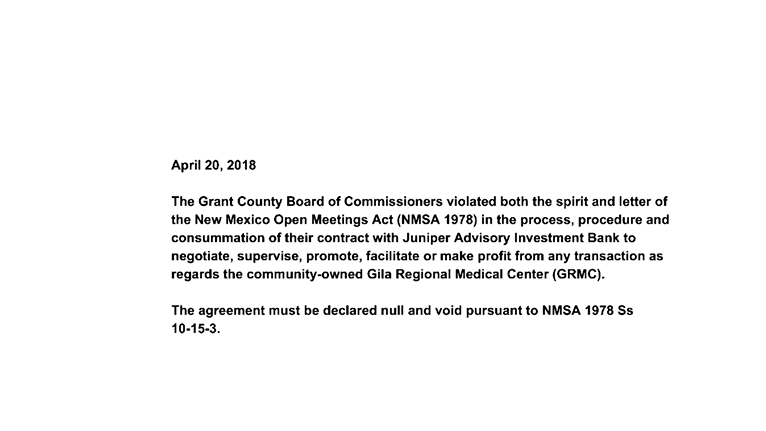 Petition Nm Void The Grant County Nm Commissioners Contract With