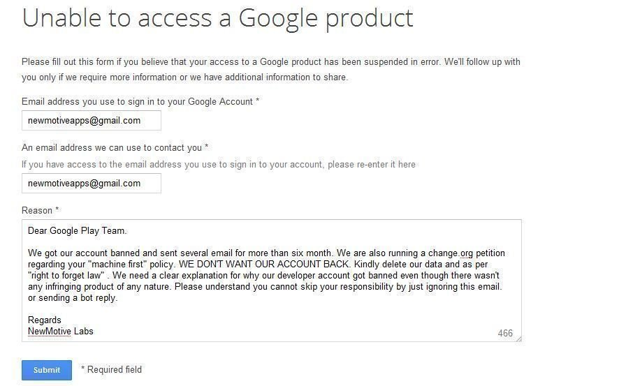 Image result for google play account termination notice