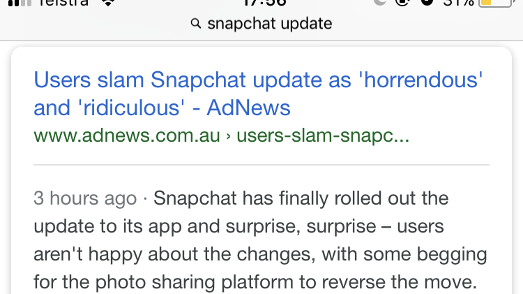 can you reverse snapchat update