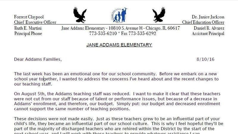 Petition update mrs martini walsh letter regarding teacher letter was posted on jane addams website hopefully she will post when the special august lsc meeting will be for addams budget approval so the community spiritdancerdesigns Image collections