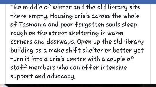 Petition · To Get the Devonport library open to the homeless