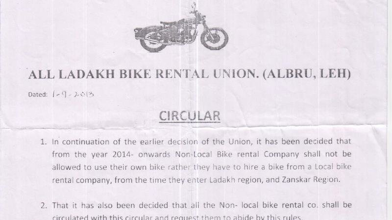Petition · Issue a letter to All Ladakh Bike Rental Union to
