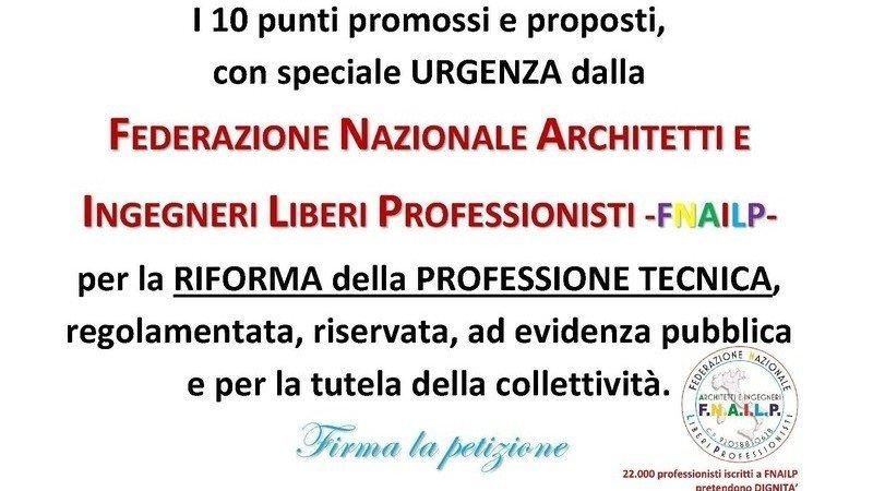 Petizione · RIFORMA DELLA PROFESSIONE TECNICA DI ARCHITETTO ED ...