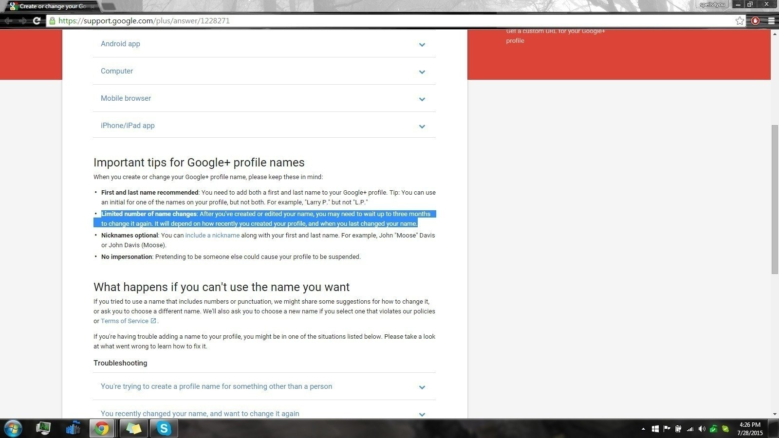 how to change the main account google