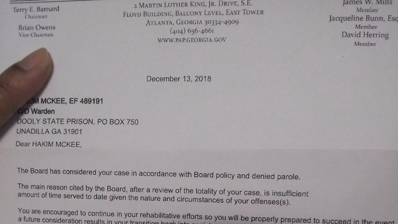 Petition update · Current Pardon and Paroles board members