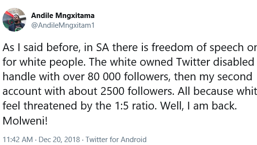 Petition update · Andile Mngxitama Back on Twitter · Change org